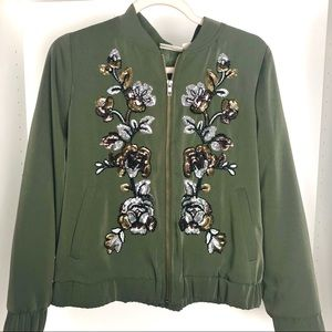 Chico's Green Sequin Bomber Jacket Size 1 (8)